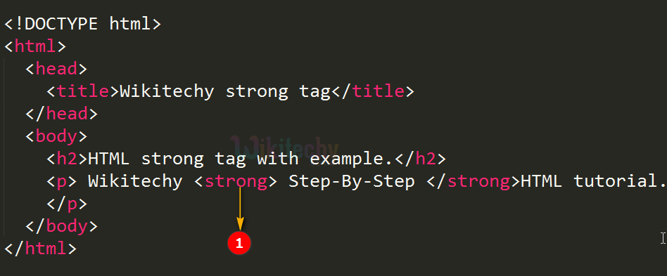 code explanation for <strong> tag
