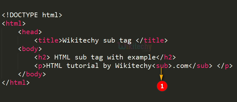code explanation for subscript sub tag