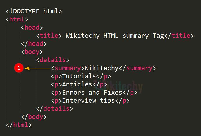 <summary> Tag Code Explanation