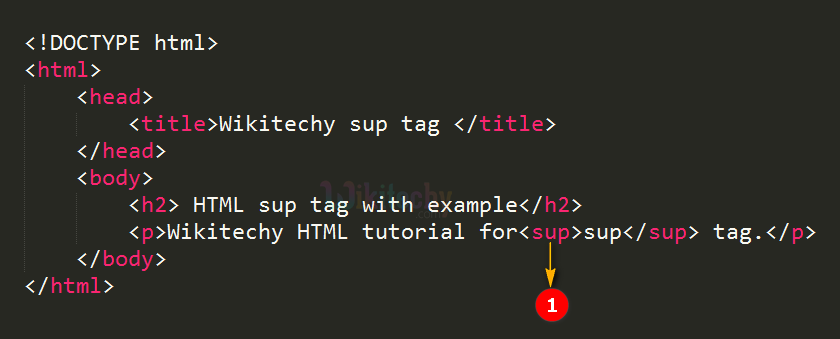 code explanation for superscript sup tag