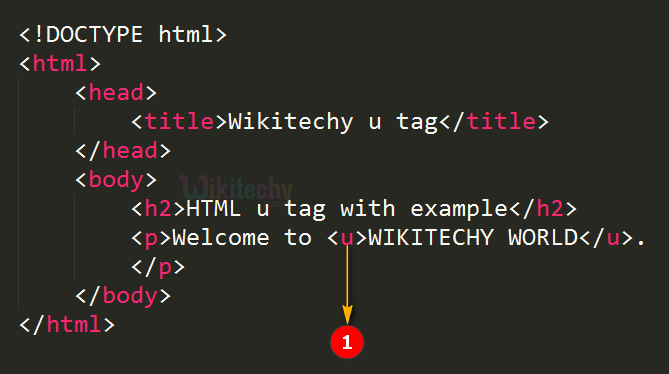 Underline <u> Tag Code Explanation