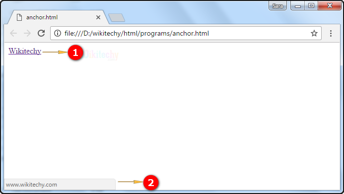 Output for <a> tag