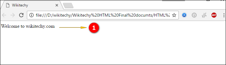 Sample Output for <html>tag