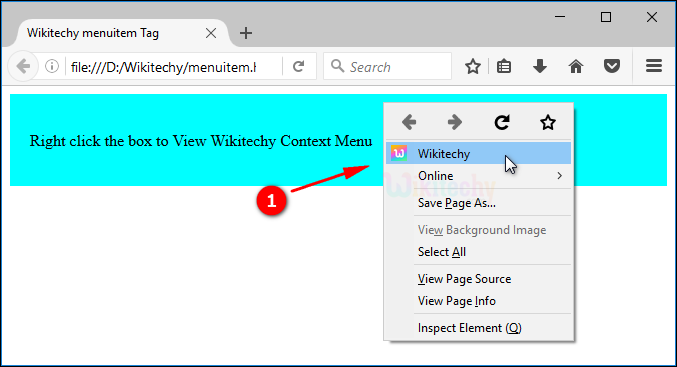 output for context menu menuitem tag