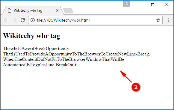 Resized Word Break Opportunity <wbr> Tag Output