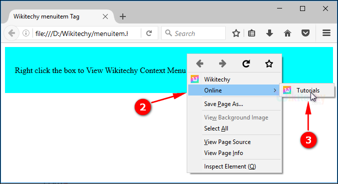 output for context menu sub menu menuitem tag