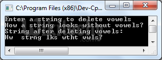C program to delete vowels from a string