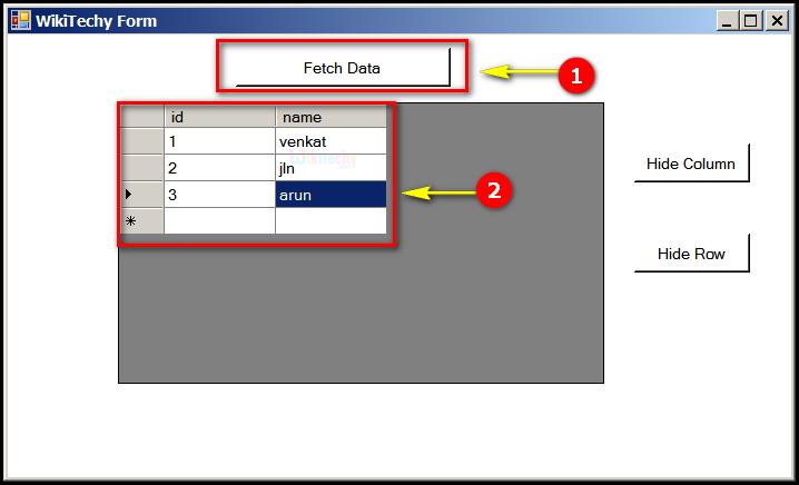 C# Gridview Hide Column | C# Controls Datagridview Hide