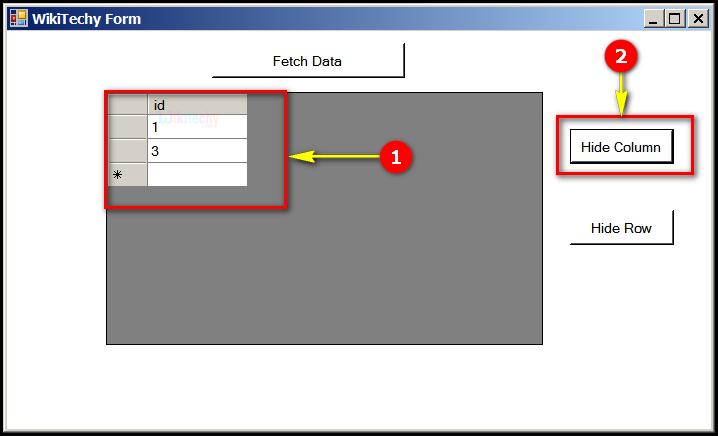 C# Gridview Hide Column | C# Controls Datagridview Hide Columns Rows