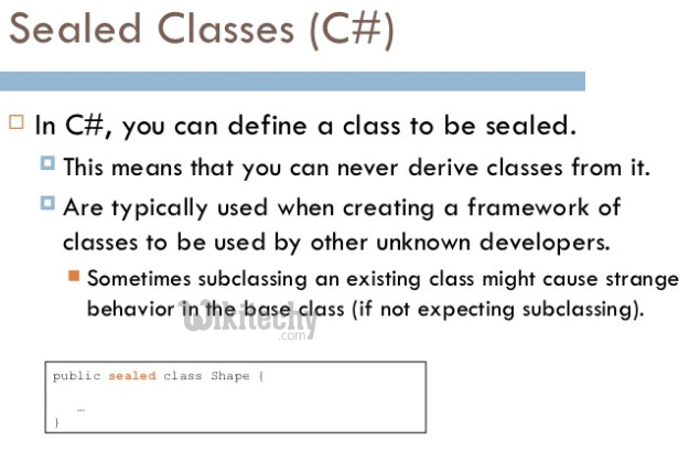 learn c# tutorials - sealed class csharp in c#