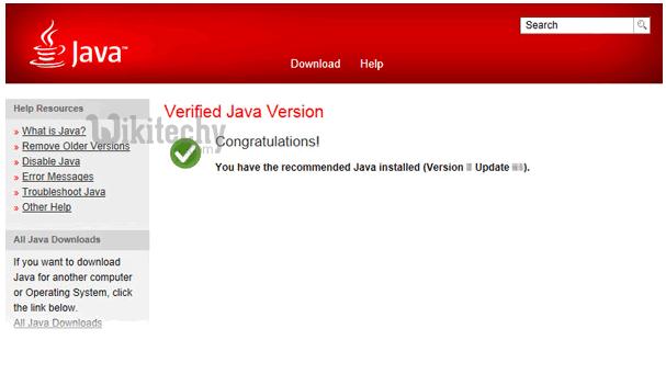 Verified Java Version