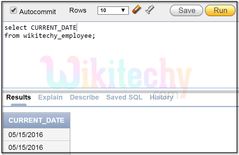 oracle date example