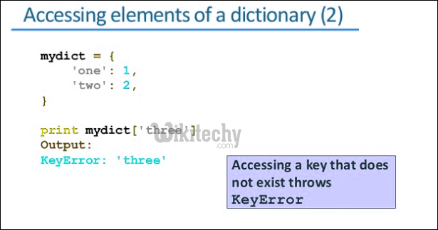 accessing elements of a dictionary python