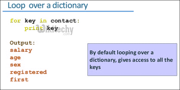 loop over a dictionary