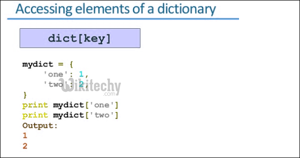 python accessing elements of a dictionary