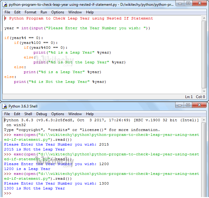 Python Program to Check Leap Year using Nested If Statement