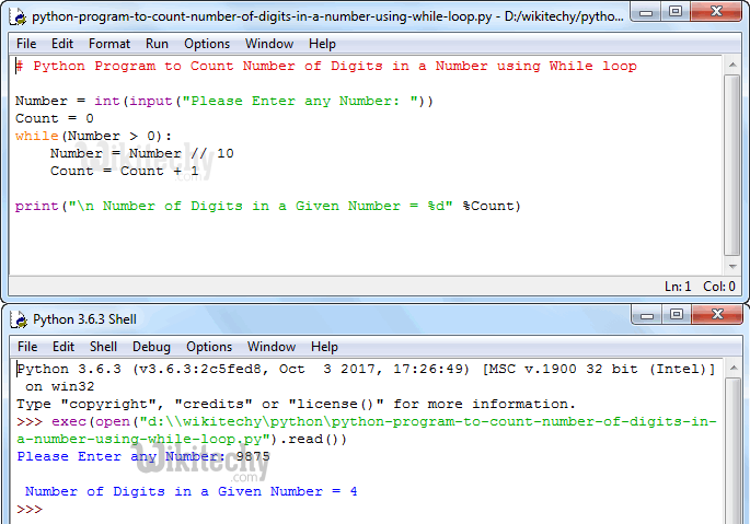 Python Program to Count Number of Digits in a Number using While Loop