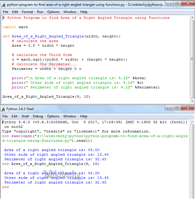 Python Program to find Area of a Right Angled Triangle using functions