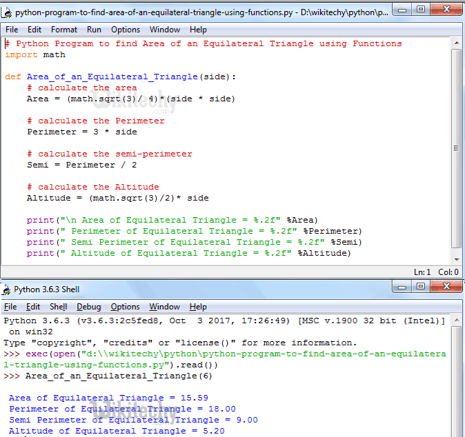 Python Program to find Area of an Equilateral Triangle using functions