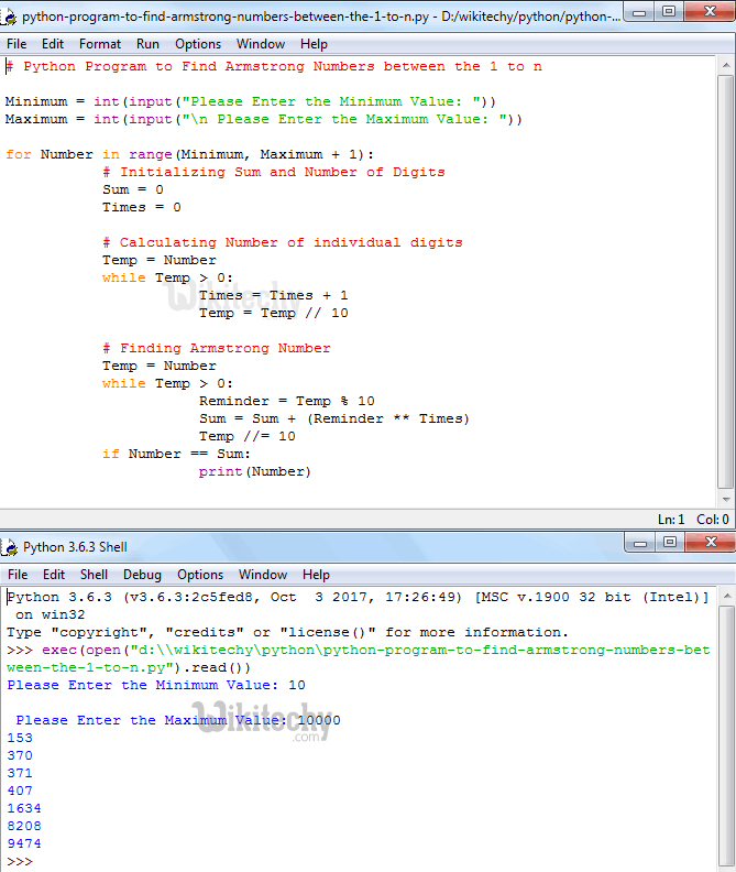 Python Program to Find Armstrong Numbers between the 1 to n