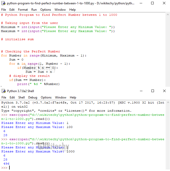 Python Program to Find Perfect Number between 1 to 1000
