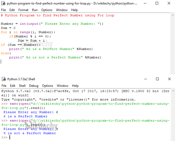 Python Program to find Perfect Number using For loop