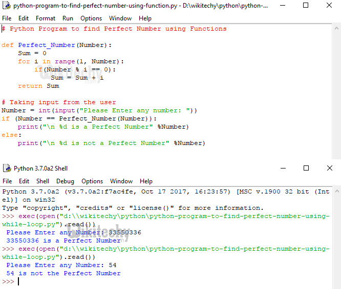 Python Program to find Perfect Number using Function