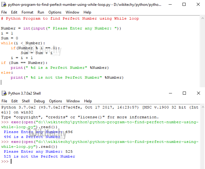 Python Program to find Perfect Number using While Loop