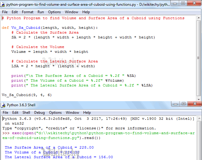 Python Program to find Volume and Surface Area of Cuboid using functions