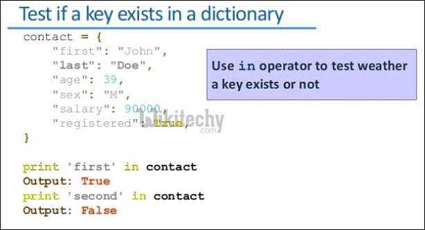 python test if a key exists in a dictionary