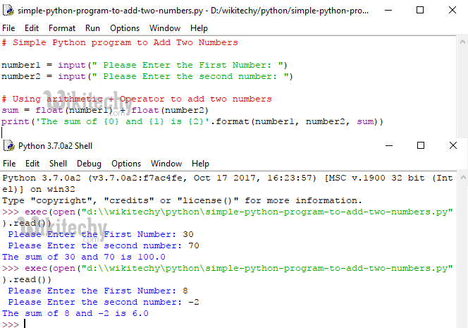 Simple Python Program to add Two numbers