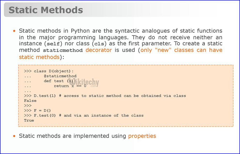 static method implementation